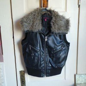 Jacket pleather fur zipper New Look large